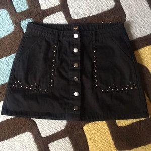 Black Denim Embellishes Mini from Nasty Gal Sz L